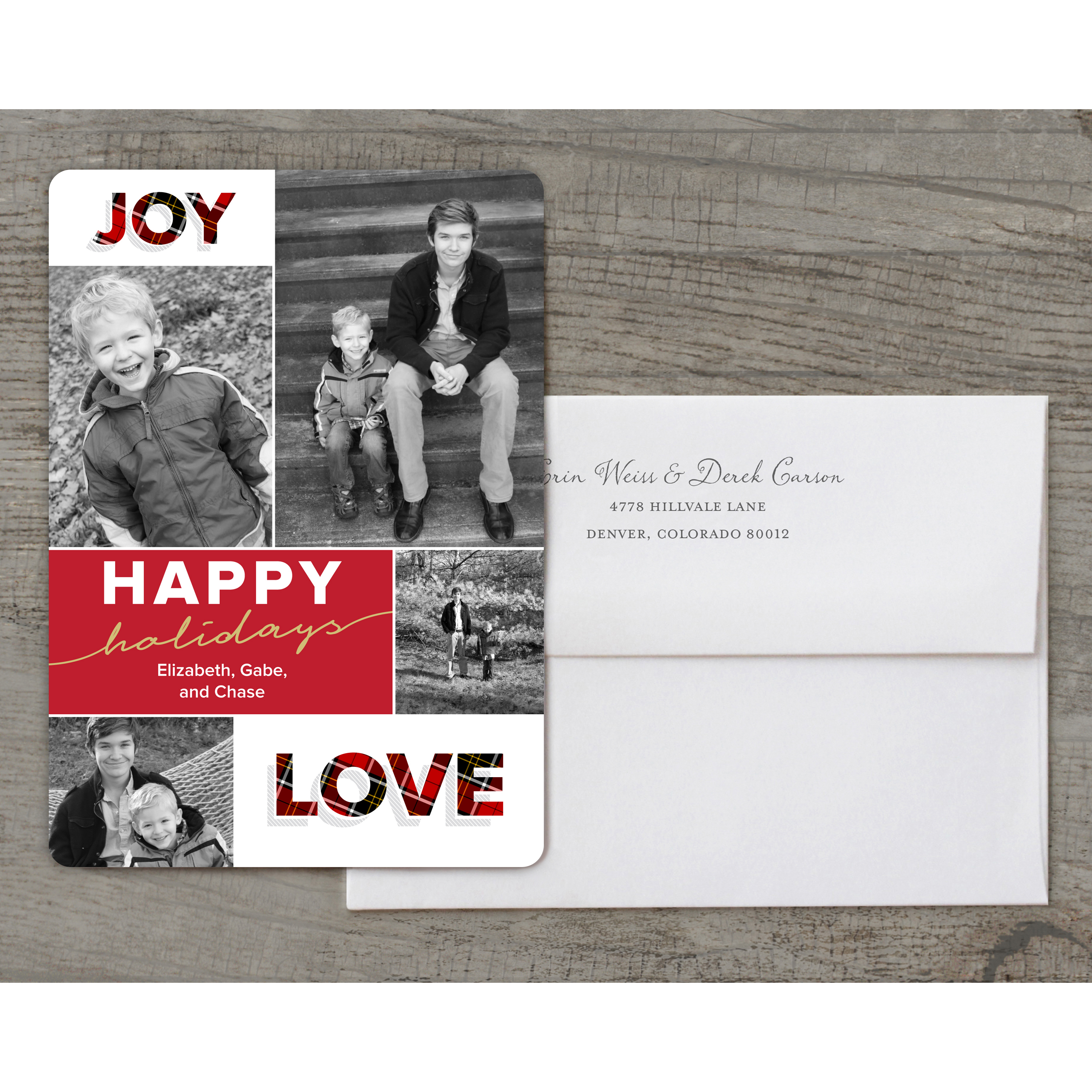 Joy Love Peace - Deluxe 5x7 Personalized Holiday Holiday Card