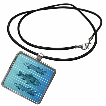 3dRose Three Blue Fish Polka dots beach themed art - Necklace with Pendant (ncl_123398_1)