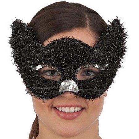 Mardi Gras Hats And Masks (Mardi Gras Venetian Masquerade Mask Black Furry Cat Metallic Costume)