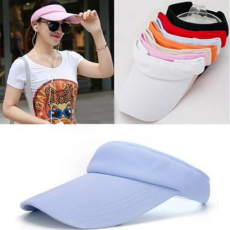 Golf Terry Visor - Girl12Queen Women's Adjustable Sunhat Plain Sports Mesh Visor Cap Tennis Golf Beach Hat