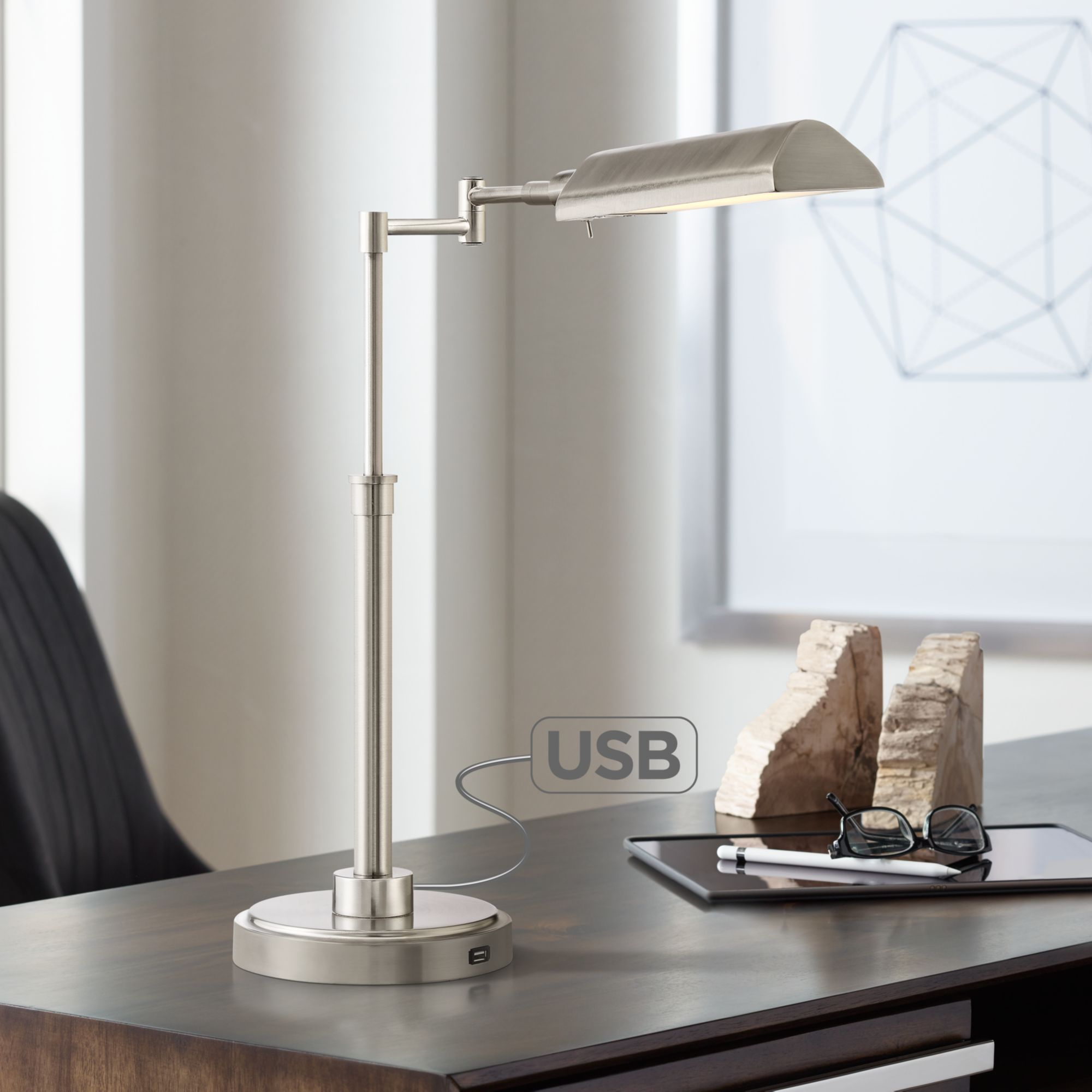 Possini Euro Design Rivera Swing Arm Led Desk Lamp With Usb Port