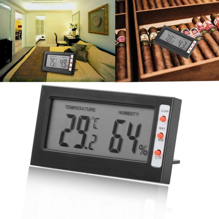 Hygrometer Thermometer, EEEKit Adjustable Mini Digital Indoor Temperature Humidity Meter Gauge Monitor with Buttons for Car Incubators Brooders Cigar