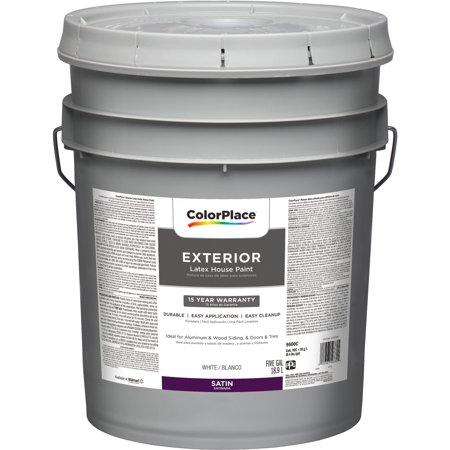 colorplace exterior paint satin finish white 5 gallon
