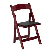 Offex Mahogany Wood Folding Chair With Vinyl Padded Seat - 2 Pack