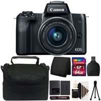 Canon EOS M50 Mirrorless Built-in Wifi Camera with 15-45mm Lens Black and 64GB Accessory Kit