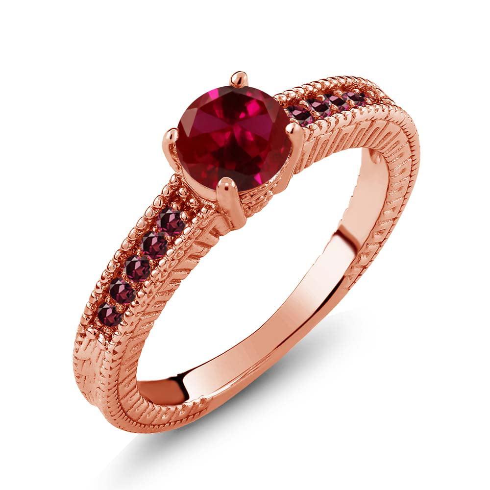 1.25 Ct Round Red Created Ruby Rhodolite Garnet 14K Rose ...