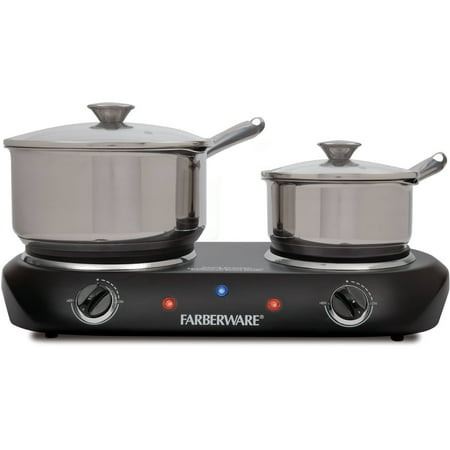 Farberware Royalty 1500 W Double Burner Black Electric Cooktop (Mantle Burner)