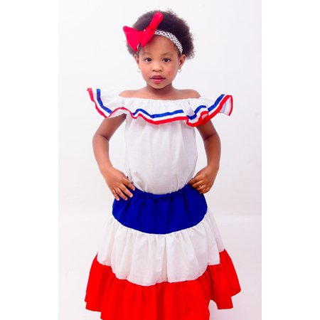 Canvas Print Girl Dominican Republic Colors Dominican Dress Stretched Canvas 10 x - Dominican Republic Flowers