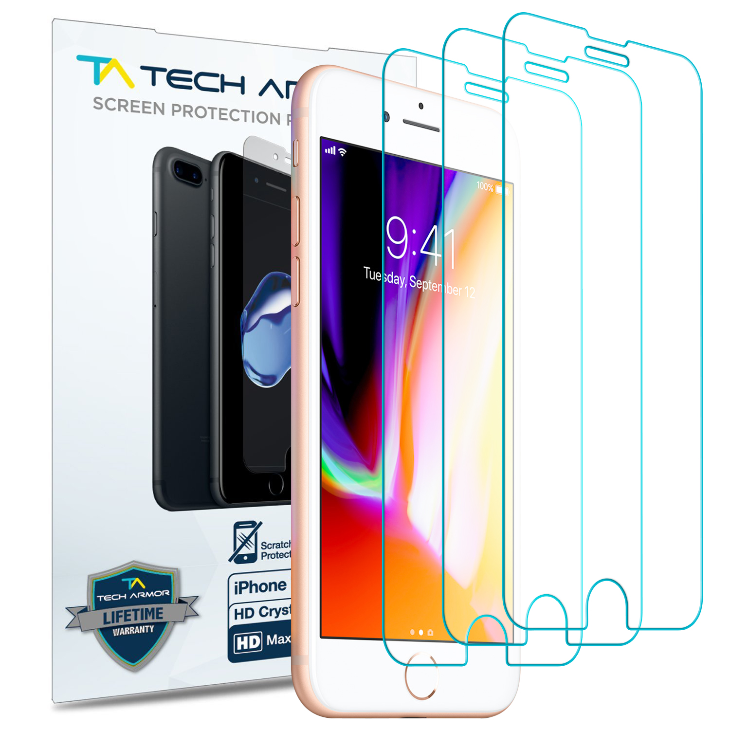 Tech Armor Apple iPhone 7 Plus, iPhone 8 Plus (5.5-inch) HD Clear film Screen Protector [3-Pack]