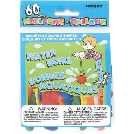 Latex Water Balloons, Assorted, 60ct
