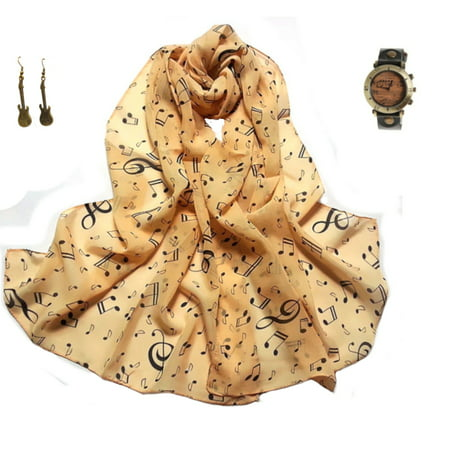 Three Piece Music Note Watch-Music Note Scarf Guitar Earrings Set-Watch-331-A](Halloween Witches Music)