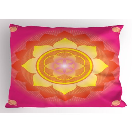 Pink And Yellow Theme (Lotus Pillow Sham Mandala with Planet Figures Cosmos Galaxy Themed Ethnic Graphic Art Print, Decorative Standard Size Printed Pillowcase, 26 X 20 Inches, Hot Pink Yellow Red, by)