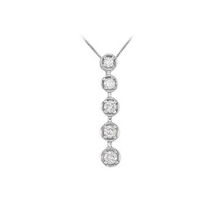 Diamond Journey Pendant 14K White Gold 0.75 CT Diamonds