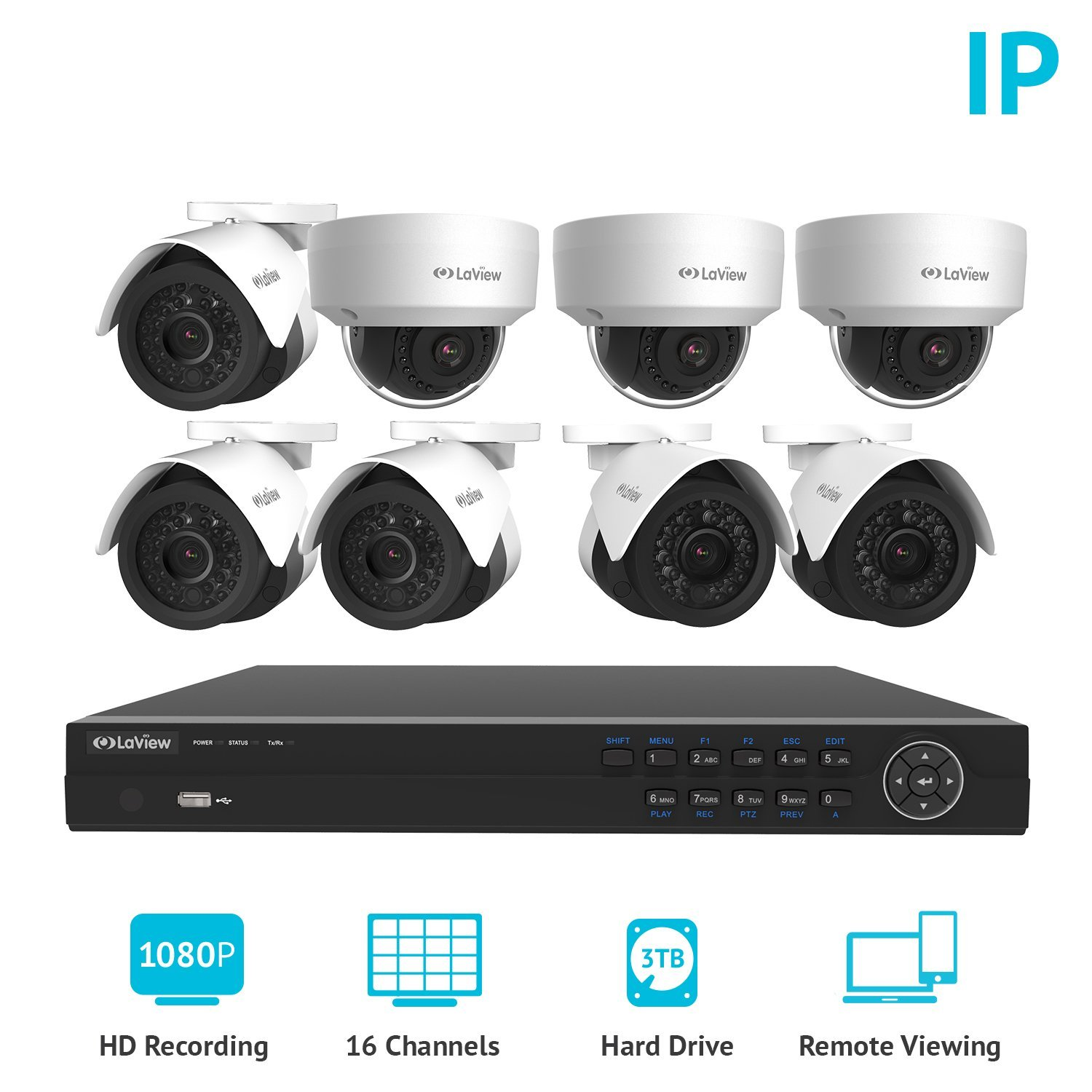 LaView 16 Channel HD 1080P NVR Security System W/ 5 Bullet & 3 Dome 2MP IP POE indoor/outdoor Surveillance Cameras, 3TB