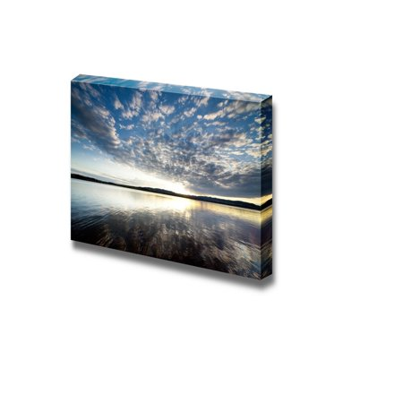 Beautiful Scenery Landscape Lake View at Sunset with Clouds on the Blue Sky - Canvas Art Wall Decor - 24