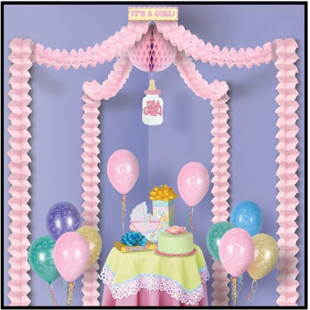 Baby Shower Canopy (It's A Girl Pink Baby Shower Decoration Canopy Kit)