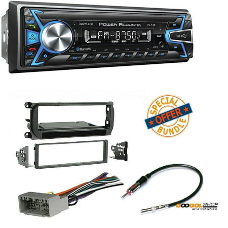 Power Acoustik 1-DIN With 32GB USB/SD/AUX/Bluetooth +Radio Stereo Install Dash Kit + wire harness And antenna adapter for Jeep Grand Cherokee (02-04), Liberty (02-07), Wrangler (03-06)