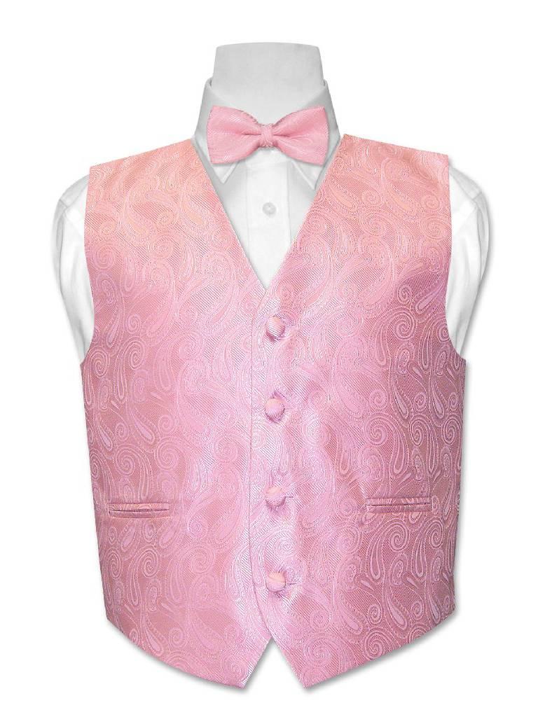 Covona BOY'S Paisley Dress Vest BOW TIE Solid PINK Color BowTie Set size 14