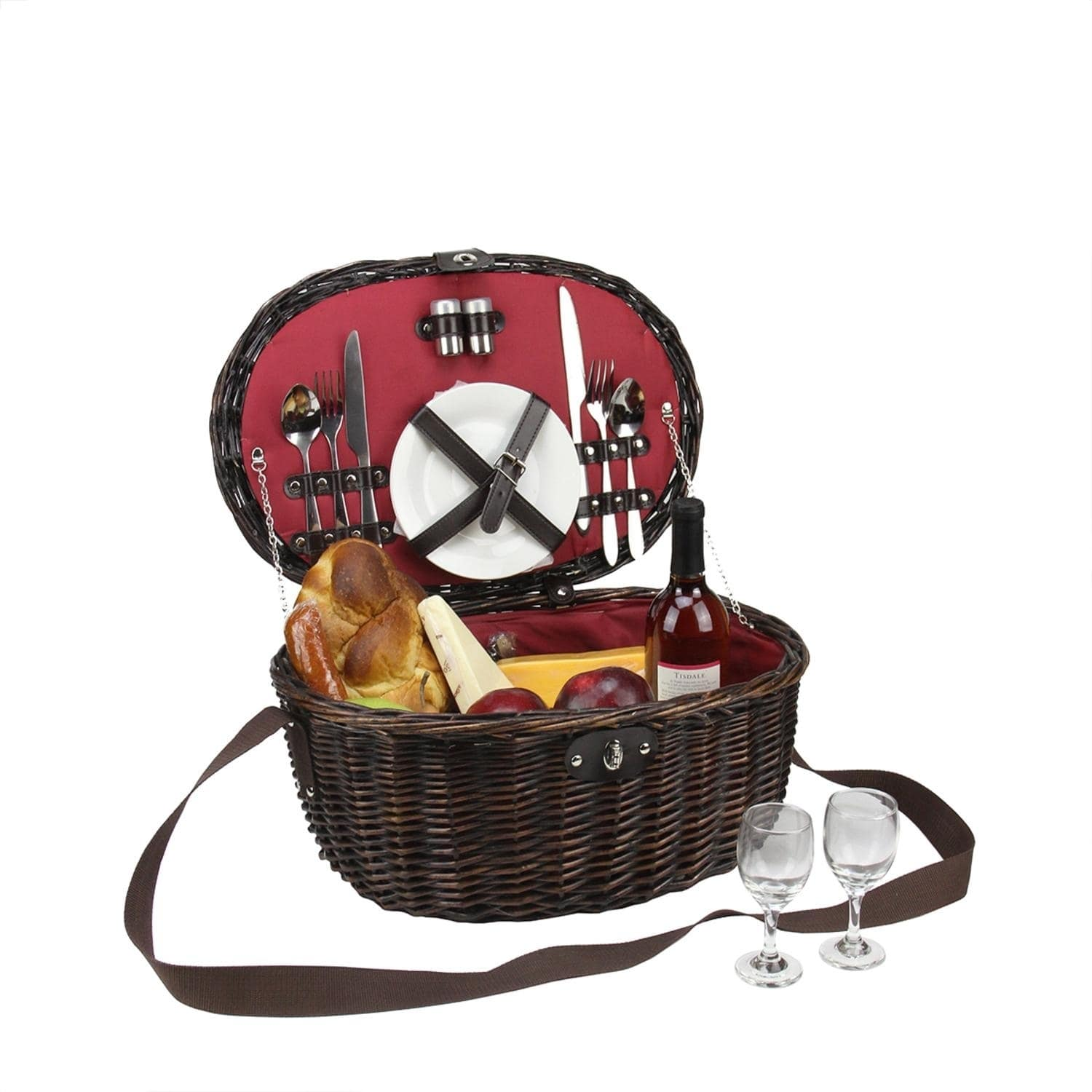 2-Person Hand Woven Red Sateen Chocolate Brown Willow Picnic Basket Set with Accessories