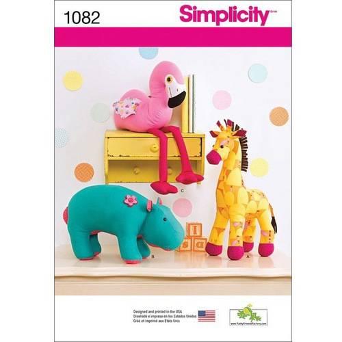 Simplicity Stuffed Hippo, Giraffe and Flamingo, One Size