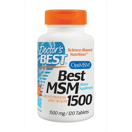 Doctor's Best MSM with OptiMSM, Non-GMO, Gluten Free, Joint Support, 1500 mg, 120