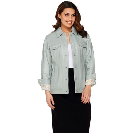 Denim & Co Lamb Leather Jean Jacket A272640
