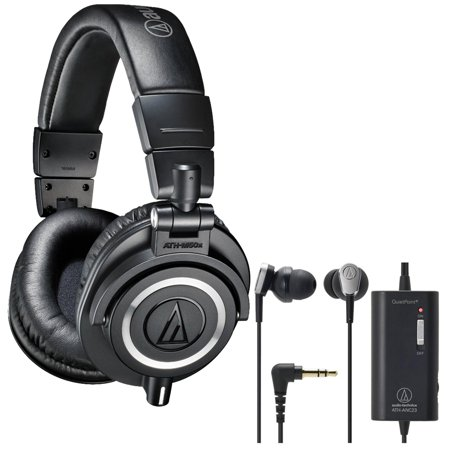 Audio Technica Professional Studio Headphones  Black  With Quietpoint Active Noise Cancelling In Ear Headphones