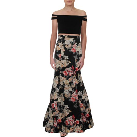 Blondie Nites Womens Juniors 2PC Cropped Formal Dress Black 3 (550 Nit)