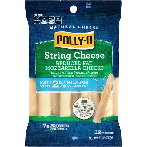 Polly-O String Reduced Fat Mozzarella Cheese Snacks Cheese Snacks, 12 ct, 10 oz