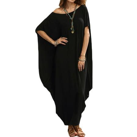 Black Uneven Hem Dress - Women's Batwing Short Sleeve Asymmetric Hem Long Maxi Dress