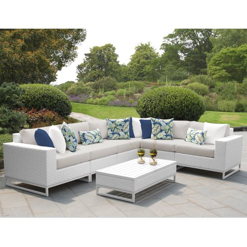 TK Classics Miami 7 Piece Sectional Seating Group with Cushions