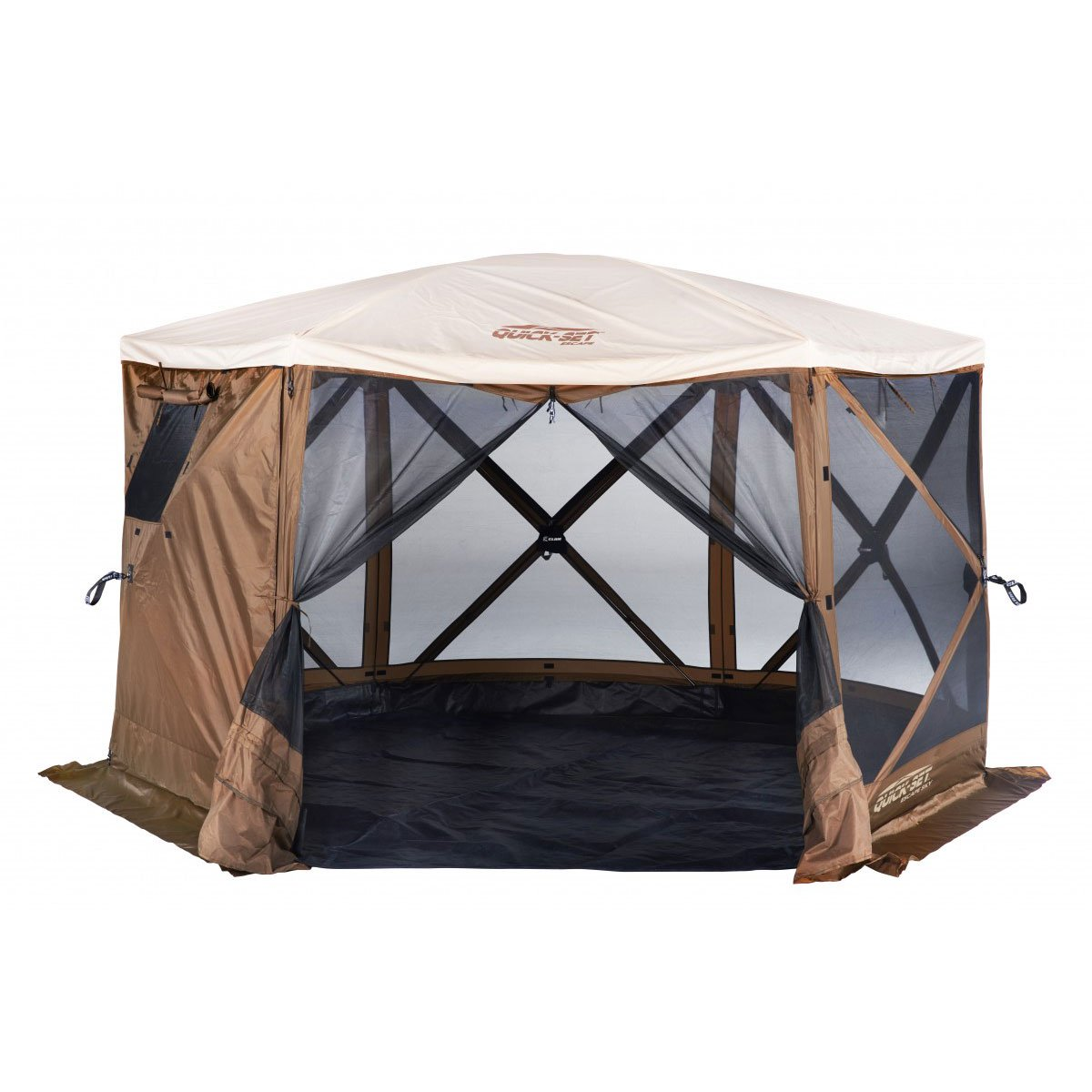 Clam Quick Set Escape Sky Camper Portable Gazebo Canopy Shelter w/ Floor, Brown