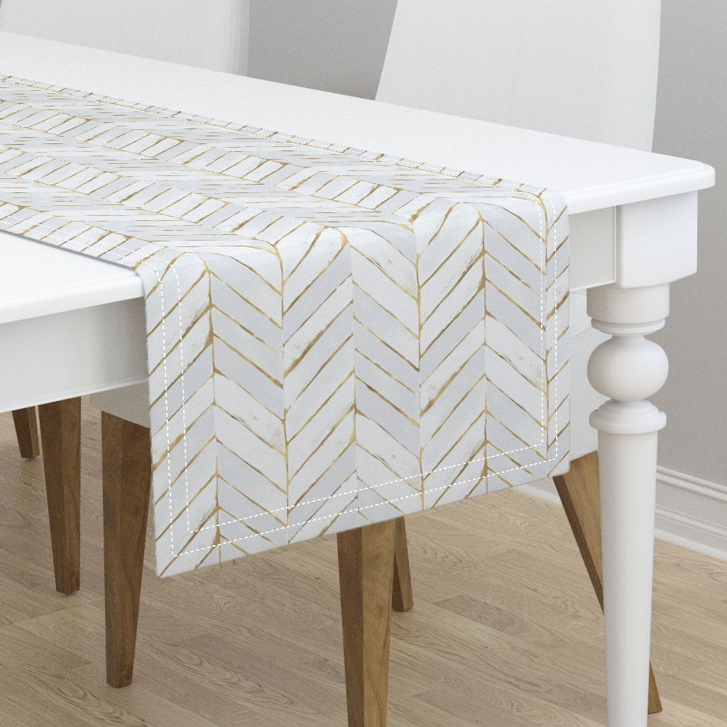 table runner chevron white gold stripe herringbone mod cotton sateen. Black Bedroom Furniture Sets. Home Design Ideas