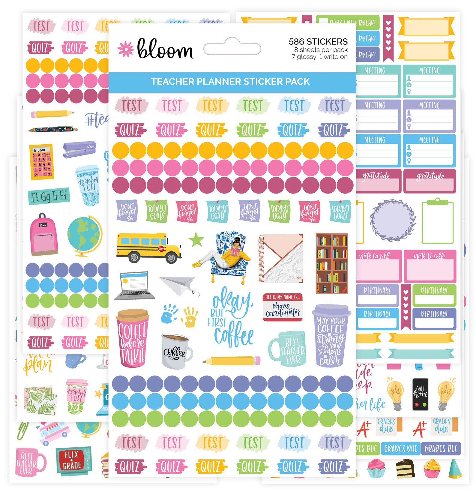 Planner Sticker Planner Agenda colors stickers Birthday Sticker Sheets