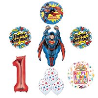 Superman Superhero 1st Birthday Party Supplies and Balloon Decoration