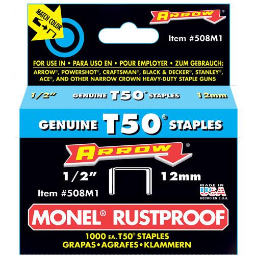 "Arrow Fastener Co. 508M1 1 2"" T50 Monel Staples by Arrow Fastener"