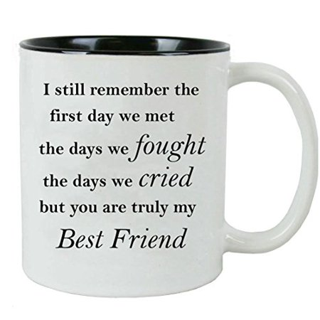 I still remember the first day we met the days we fought the days we cried but you are truly my Best Friend - Ceramic Mug (Black) with Gift (Christmas Gifts For The Best Friend)