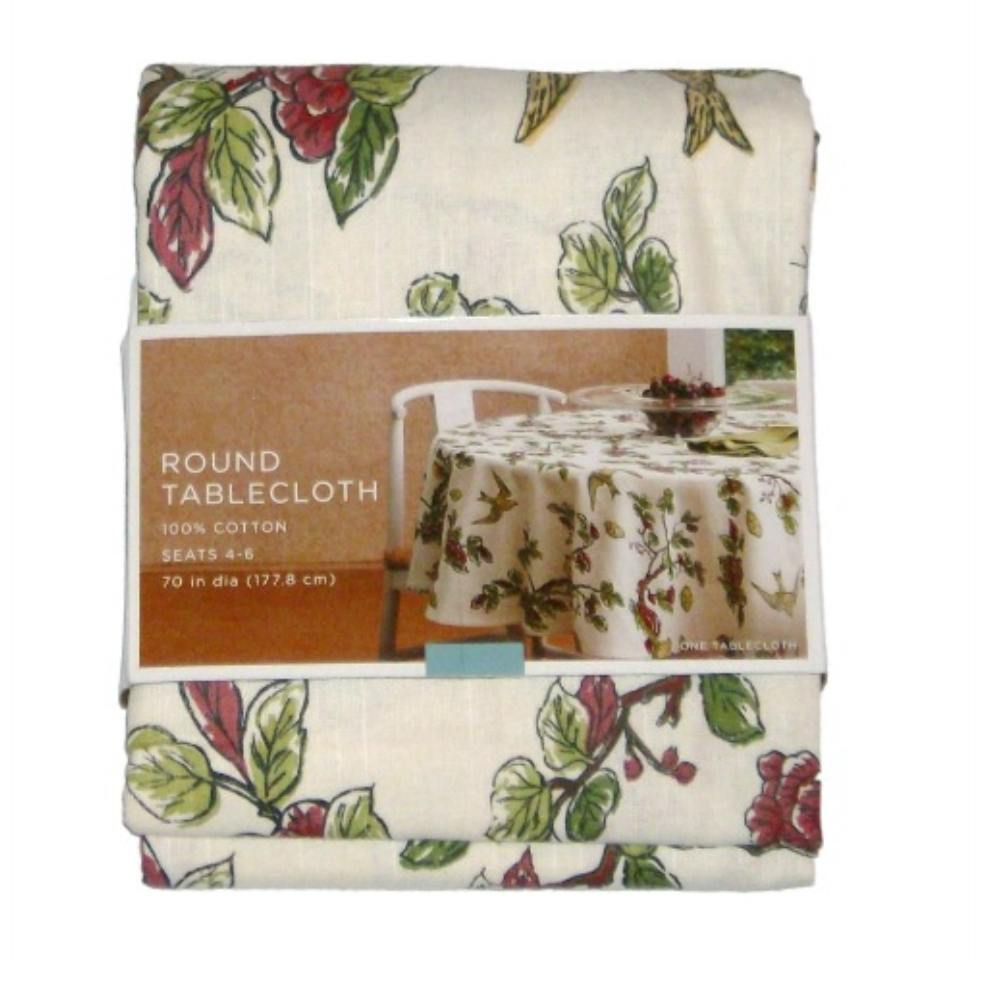 """Home Floral Branch Tablecloth Fabric Table Cloth 70"""" Round"""