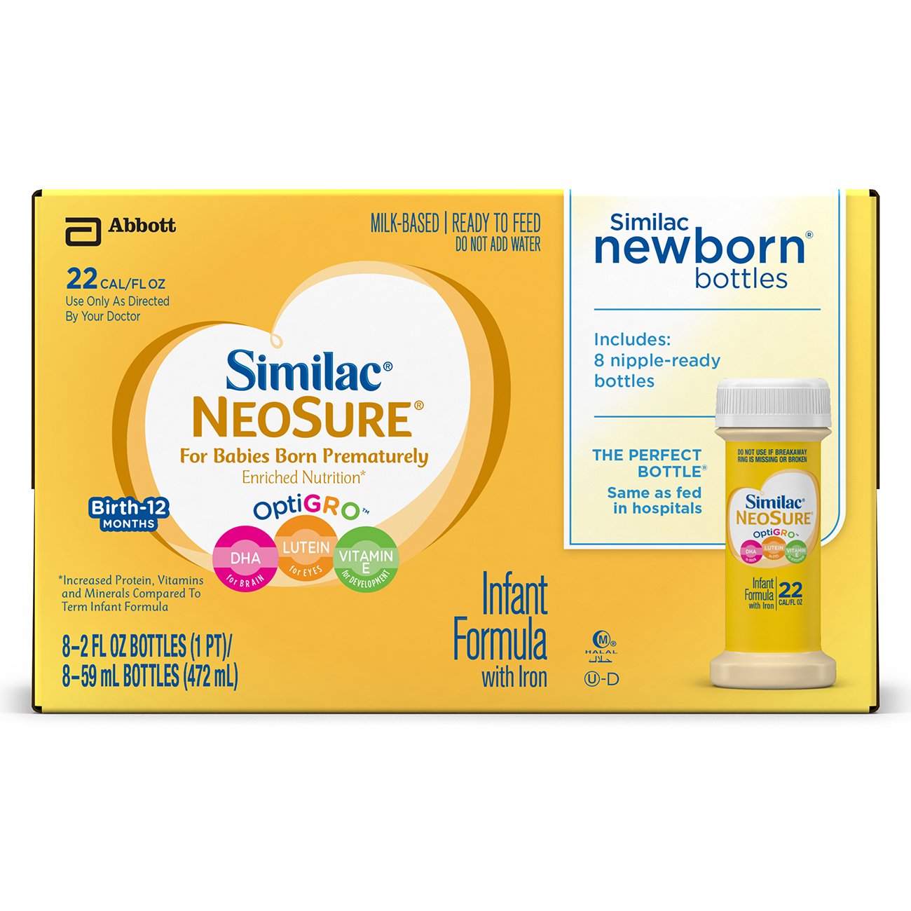 Similac NeoSure Infant Formula (24 Count) For Preemies Ready-to-Feed, Bottles, 2 oz Bottles