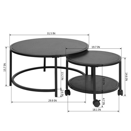 FurnitureR Coffee Table 2 Piece Set Round Top - image 6 of 7