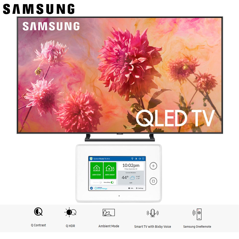 "Samsung QN65Q9FNA QN65Q9 QN65Q9F 65Q9 65"" QLED Smart 4K QN65Q9FNAFXZA UHD TV (2018 Model) with SmartThings ADT Home Security Starter Kit - (F-ADT-STR-KT-1)"