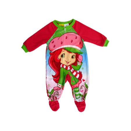 eb9f94c457 Strawberry Shortcake - Strawberry Shortcake Girls Infant   Toddler Red  Blanket Sleeper Footed Pajamas - Walmart.com