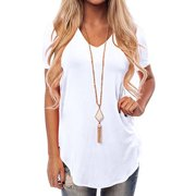 Woman's V Neck Swallow Tail T-shirt Short Sleeve Summer Casual  Loose Solid Tunics Top Blouse Tee Shirt