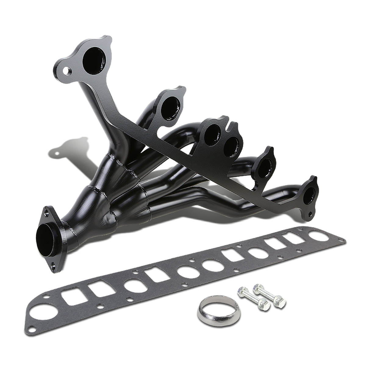 For 91-99 Jeep Wrangler Cherokee Stainless Steel Exhaust Header Kit (Black painted) 92 93 94 95 96 97 98