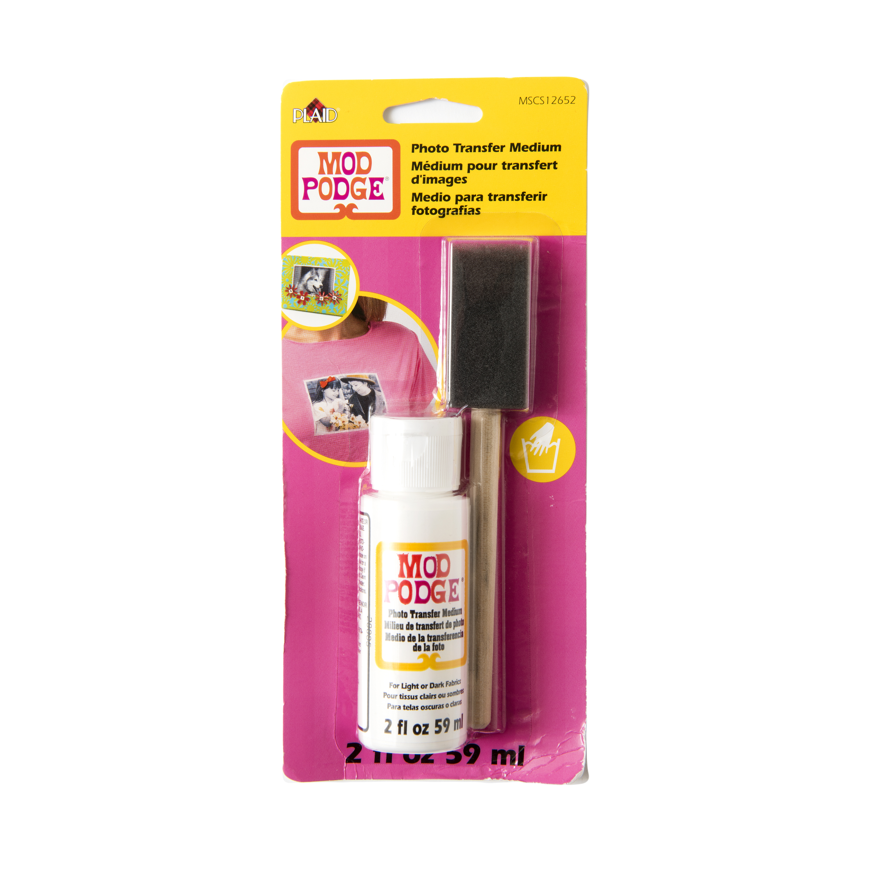 Mod   Podge Photo Transfer Medium for Light or Dark Fabrics by Plaid, 2 oz.