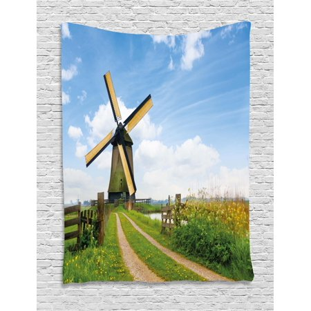 Old Dutch Decor (Windmill Tapestry, Blooming Spring Field in Holland Old Traditional Architecture, Wall Hanging for Bedroom Living Room Dorm Decor, Green Pale Blue and Apricot, by Ambesonne )