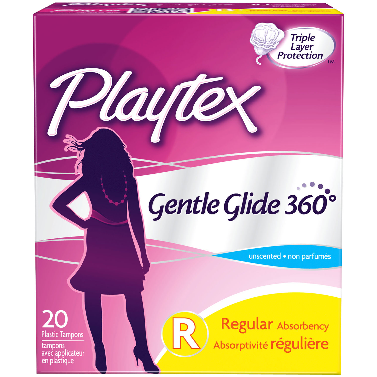 Playtex Gentle Glide Tampons Unscented Regular Absorbency - 20 Count