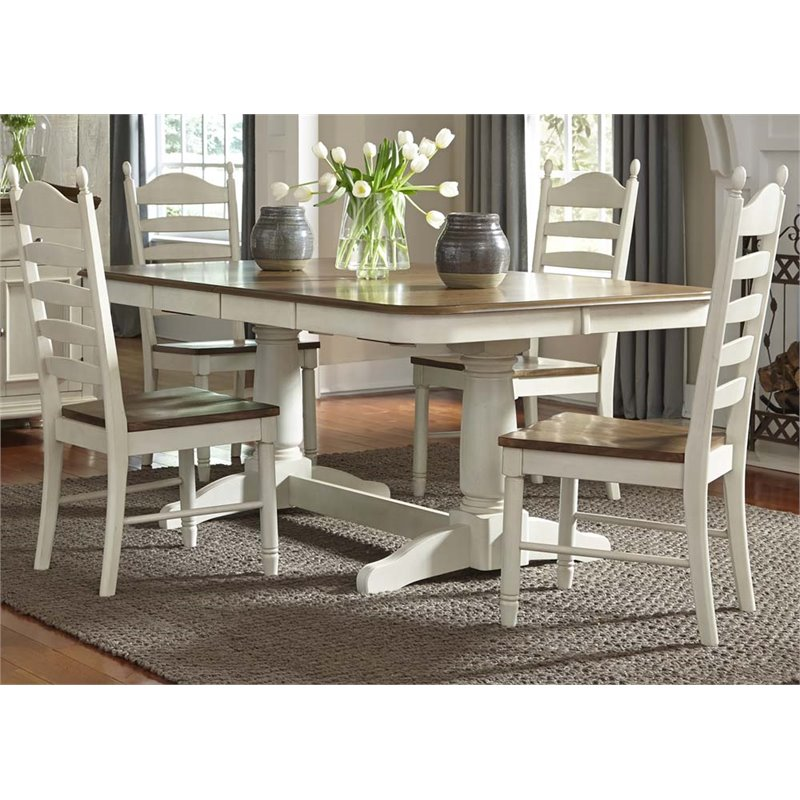 Liberty Furniture Springfield Double Pedestal Dining Table in Cream