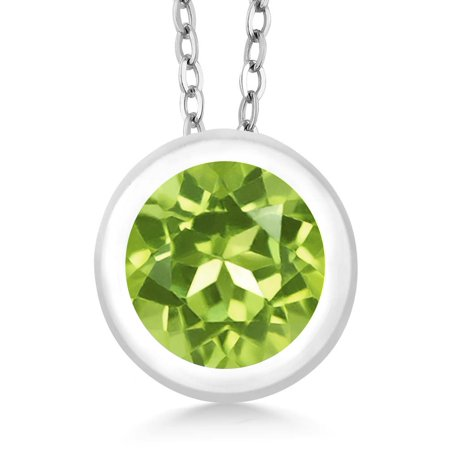 0.90 Ct 6mm Round Green Peridot 925 Sterling Silver Pendant With 18