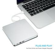 Slim External DVD Drive, USB 2.0 Transmission Slim Portable External DVD CD +/-RW Writer/Burner/Rewriter ROM Drive Perfect for Mac OS/Win7/Win8/Win10/Vista PC Desktop Laptop
